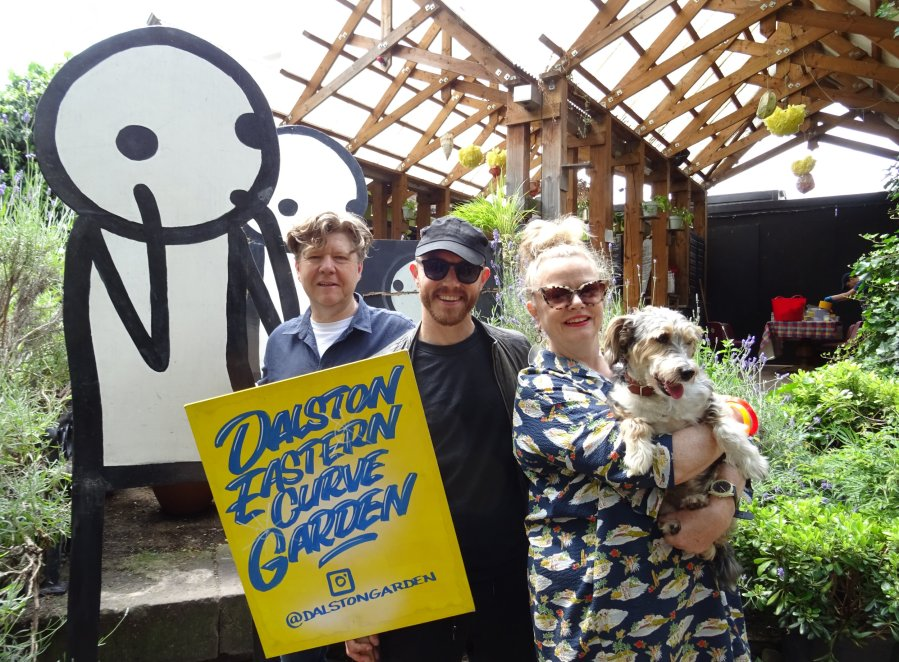 STIK with the Missing Sculptures at the Curve Garden with Brian Cumming and Marie Murray and their dog Holly