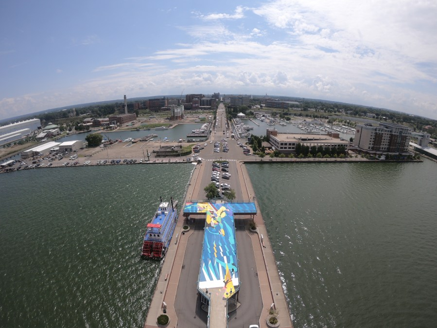 SatOne 'Flotsam', Observation deck of Dobbin's Landing, Erie, Pennsylvania, United States 2019. Photo Credit Lake Effect Aerial