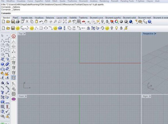 Creare nuova barra strumenti rhinoceros e personalizzarla