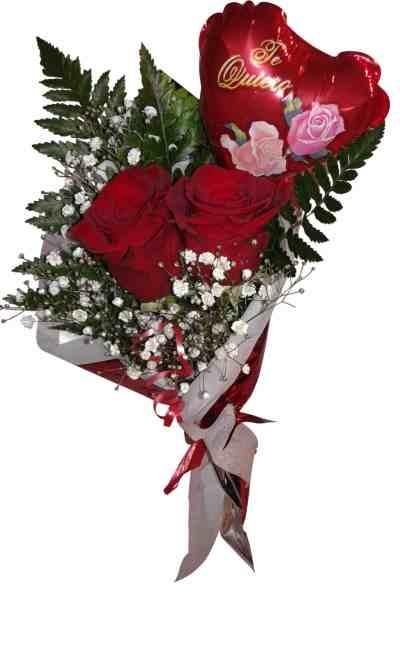 envio de ramo de dos rosas con globo