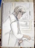 Konzentriert bei der Malerei