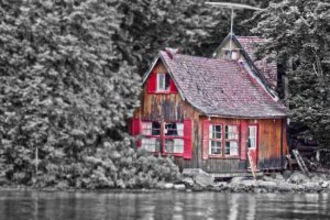 haus, chalet, quebec, canada, woods, forest, lake, see, wald, bäume, altes haus, baracke, geisterhaus, waldhaus, into the woods, im wald, haus im wald, waldhaus, häuschen, kleines haus