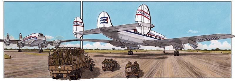 Viñeta del cómic ARDE CUBA de Agustín Ferrer en la que se ve el Aeropuerto Internacional de La Habana