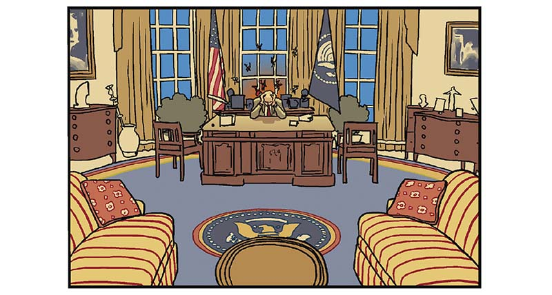 cómic del presidente trump eeuu