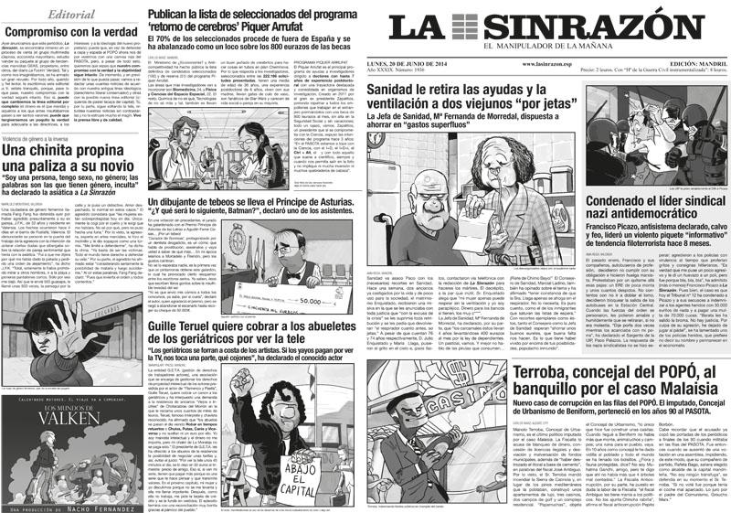 LA SINRAZON es el periodico que se regala con el cómic CHORIZOS Atraco a la española