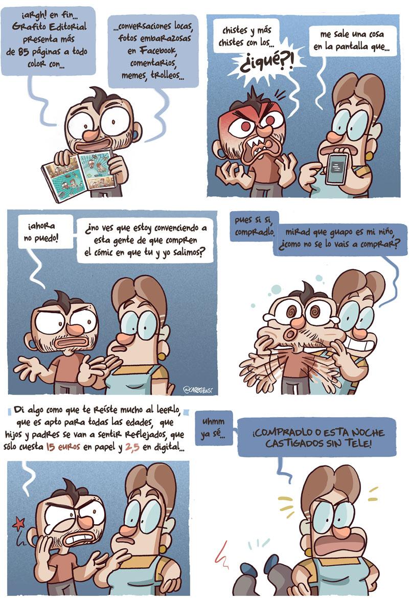 02 Cómic en el que el dibujante  Carles Ponsí nos enseña su ultima publicación: SOCORRO MI MADRE TIENE FACEBOOK