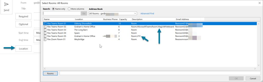 Microsoft Outlook Desktop Room Selector