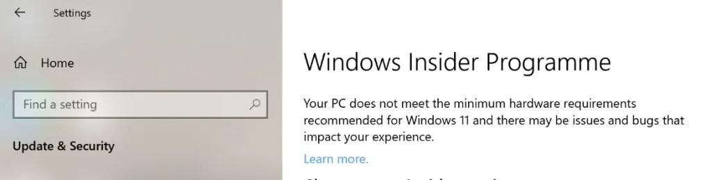 Windows Insiders Programme validation