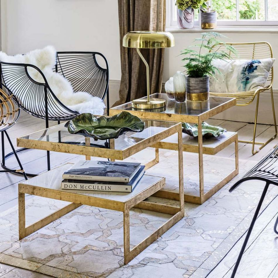 estere gold and marble side table