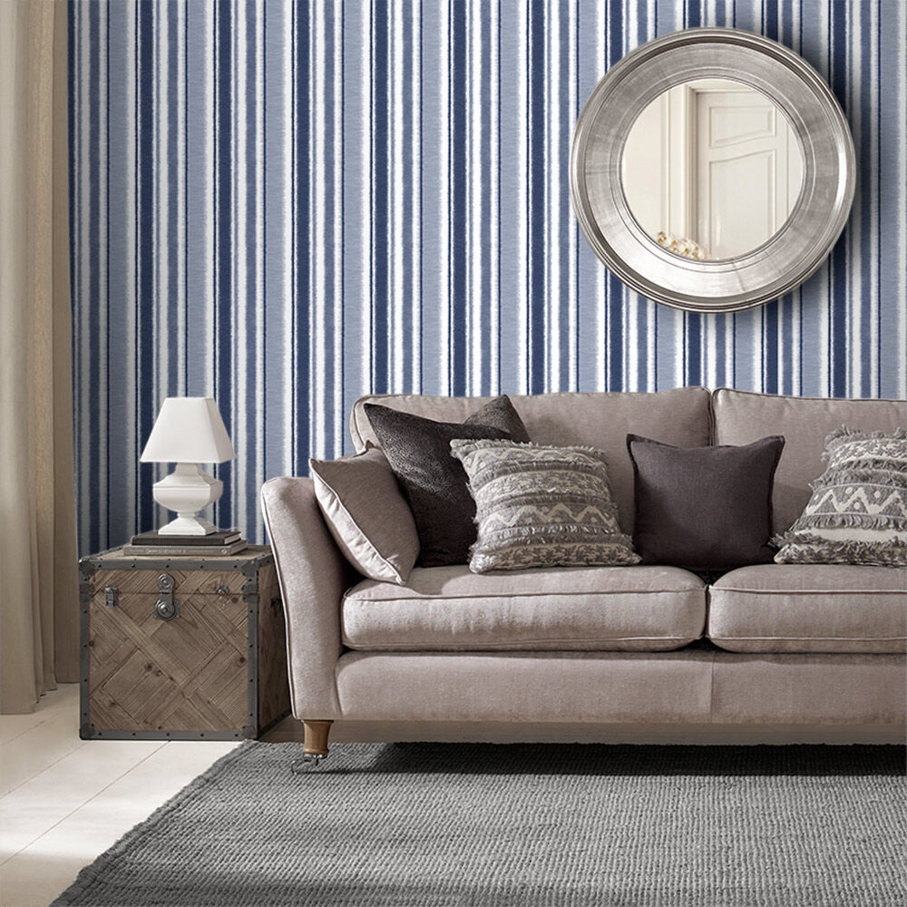 wallpaper for living room ideas pillows wallcoverings rooms large indian ink stripe royal blue
