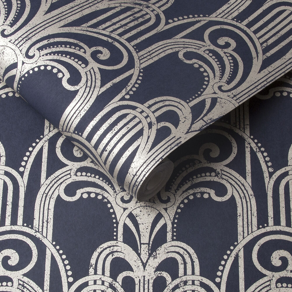 Art Deco Midnight Wallpaper Blue Wallpaper Graham Brown