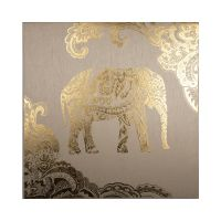 Golden Henna Elephant Fabric Canvas Wall Art
