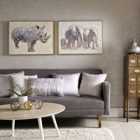 Metallic Elephant Family Handpainted Framed Canvas Wall ...