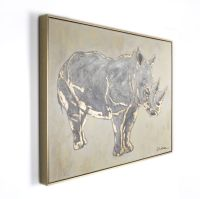 Metallic Rhino Handpainted Framed Canvas Wall Art ...