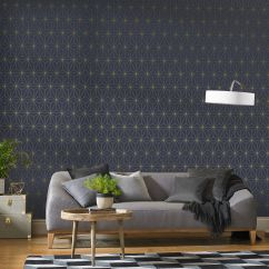 Amazing Living Room Wallpaper New York Bar Feature Wall Graham Brown Large Prism Navy Gold