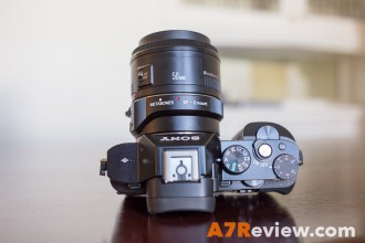 Sony A7R with the Canon 50mm 1.8 top