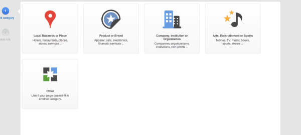 Screen shot of Google+ Local Options
