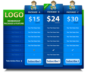 Typical Pricing Table