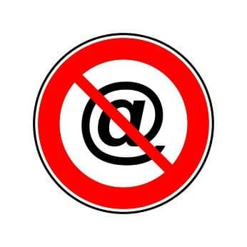 Sign showing ban email