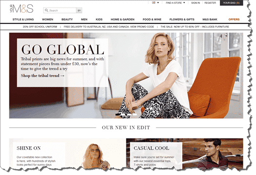 Marks and Spencer Website Screen Shot