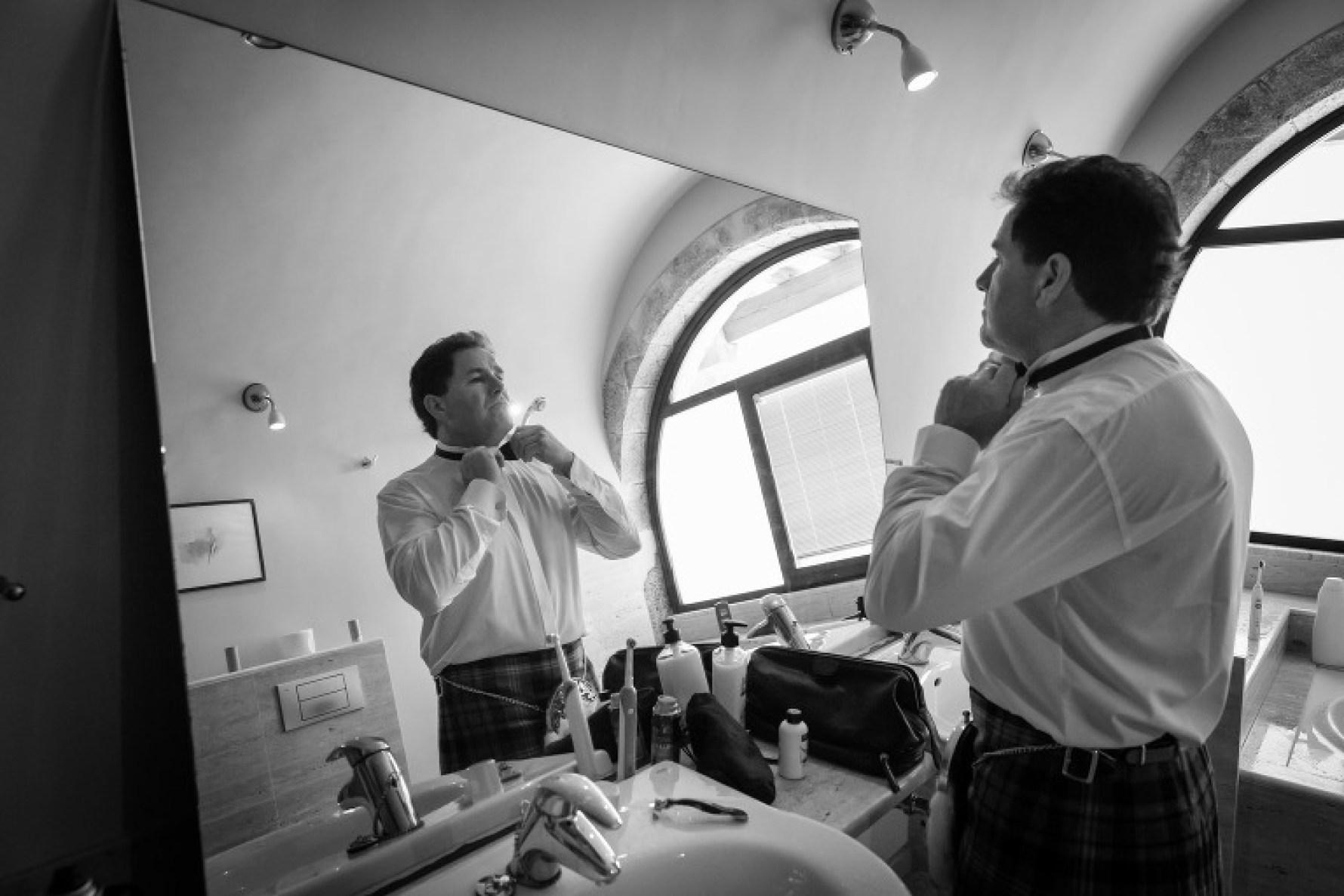 Final touches for his Mallorca wedding in Valldemossa