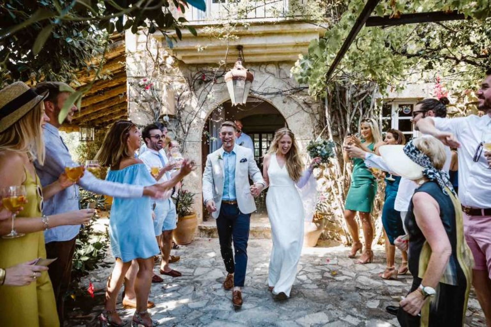 Confetti walk at Cathy and Ben's Mallorca finca wedding