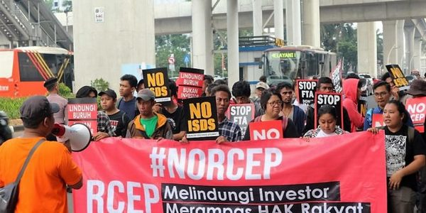 Indonesia Global Justice protests against RCEP
