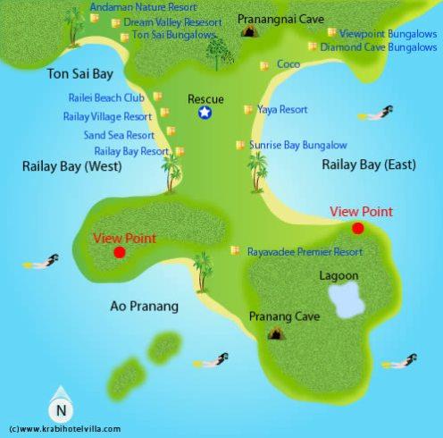 Carte de Railay © Krabi Hotel Villa