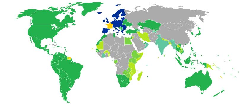 Pays où visa requis pour français