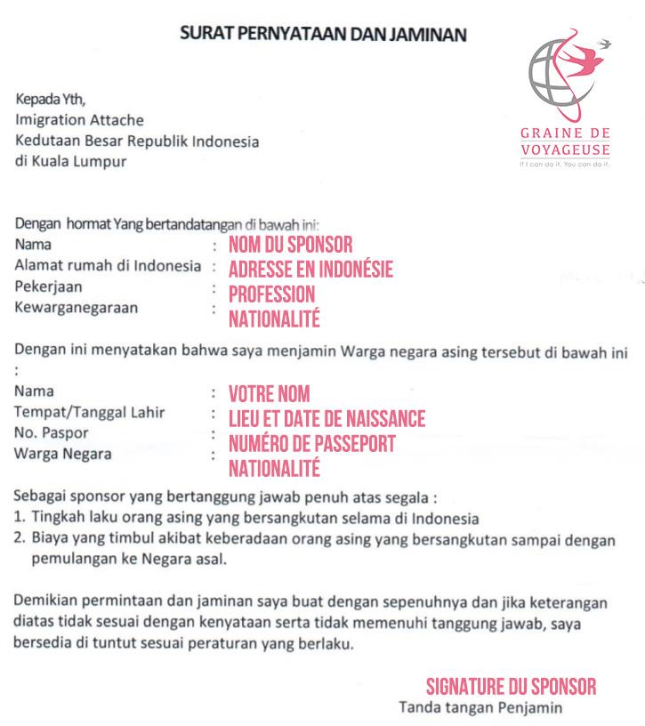 Visa Indonésie Lettre Sponsor