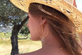 Boucles d'oreilles Line, doré, vert d'eau