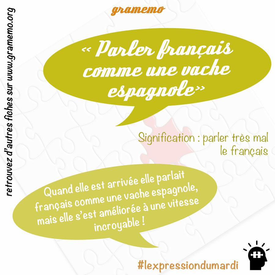 Parler français comme une vache espagnole - Expressions Gramemo