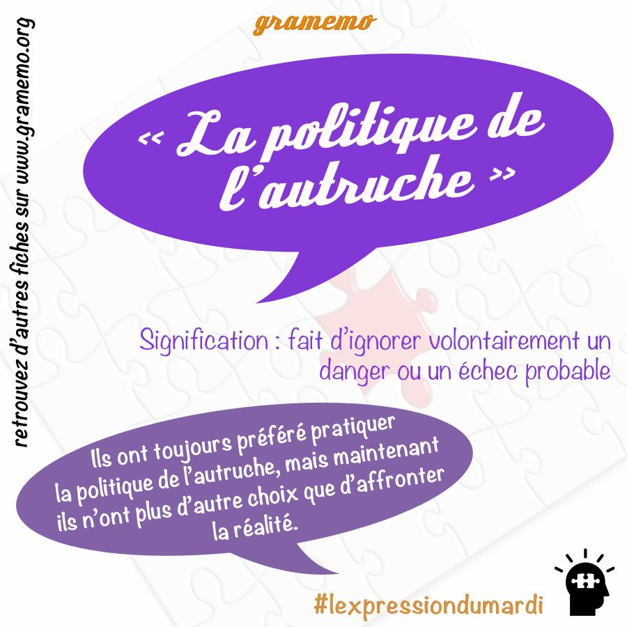 La politique de l'autruche - Expressions Gramemo
