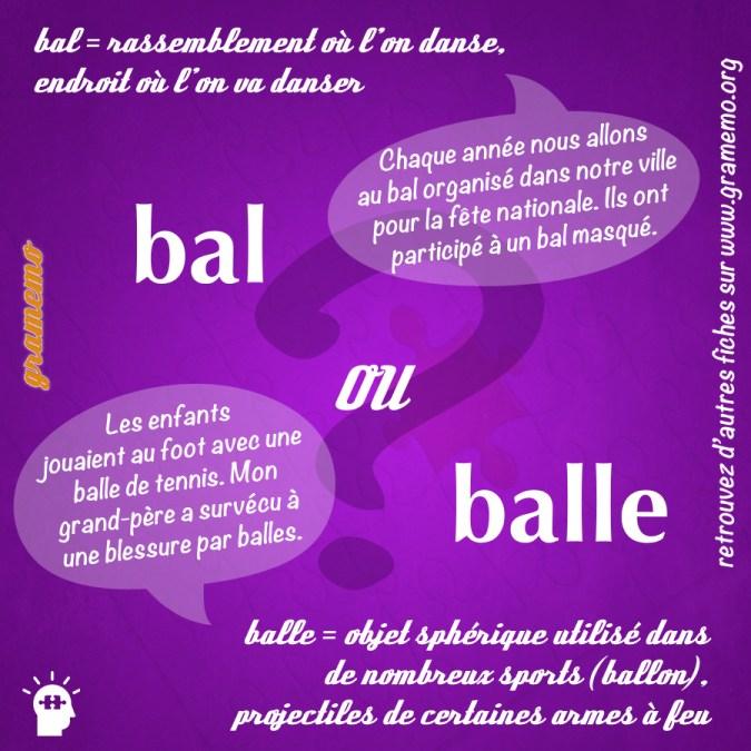Bal ou balle - Homophones Gramemo