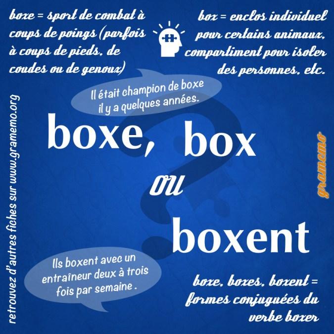 Boxe box boxent - Homophones Gramemo