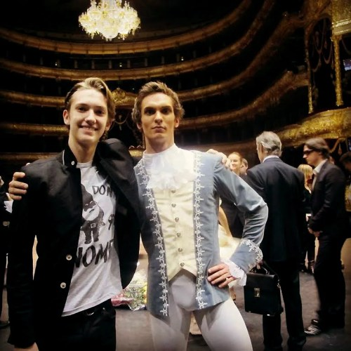 ​Bolshoi rising star Artem Belyakov with Julian MacKay Sergei Filin in back right​