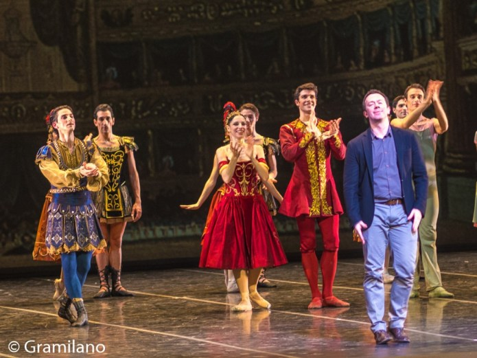 Alexei Ratmansky is applauded by cast and audience