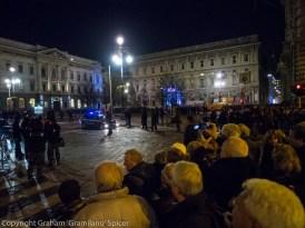 Protesters in piazza della Scala