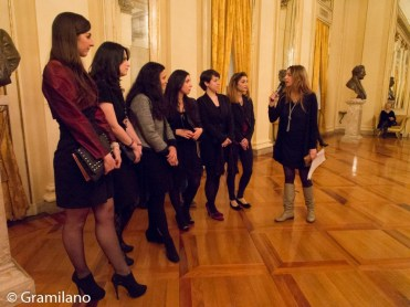 The six competition winners with La Scala's Silvia Farina during an interview in the foyer