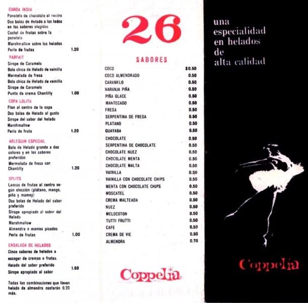 The original Coppélia menu from 1966