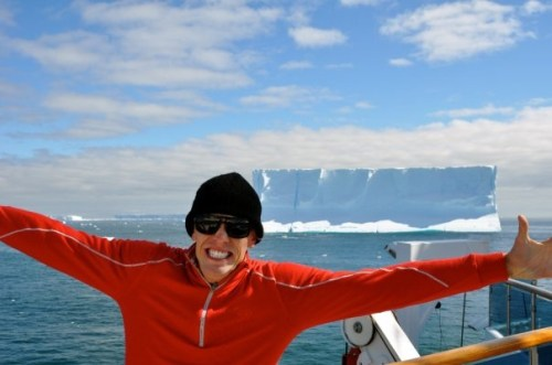 Adam Bull crossing the Southern ocean to the Antarctic continent. First sighting of an iceberg!