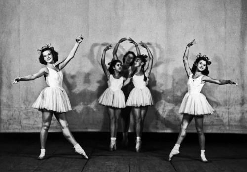Carla Fracci, on the right, at the La Scala Ballet School