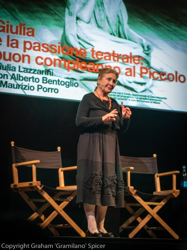 Giulia Lazzini celebrates her 80th birthday at Milan's Piccolo Teatro