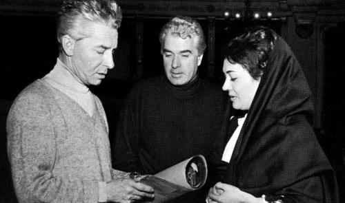 Herbert con Karajan, Giorgio Strehler and Fiorenza Cossotto, Cavalleria Rusticana, La Scala 1966