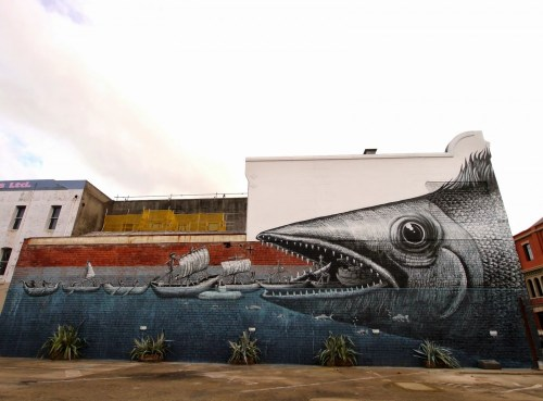 Street artist Phlegm's mural in New Zealand