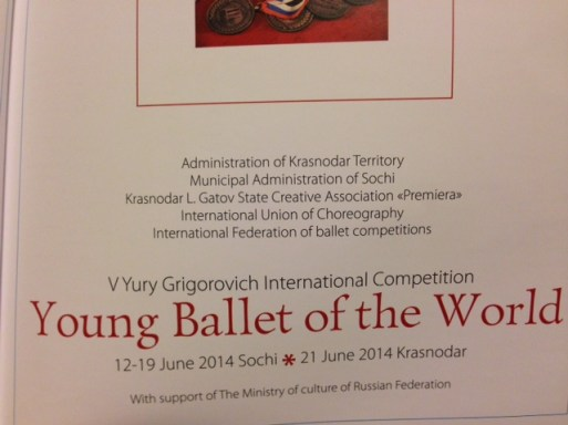 Young Ballet of the World programme