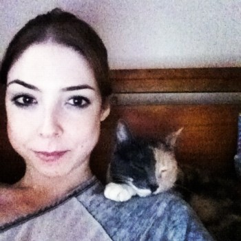 Bridgett with her cat Phantom