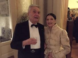 Carla Fracci at La Scala for Fidelio 7 December, 2014, with Alberto Arbasino, Italian writer