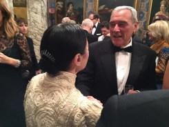 Carla Fracci at La Scala for Fidelio 7 December, 2014, with Pietro Grasso, President of the Italian Senate