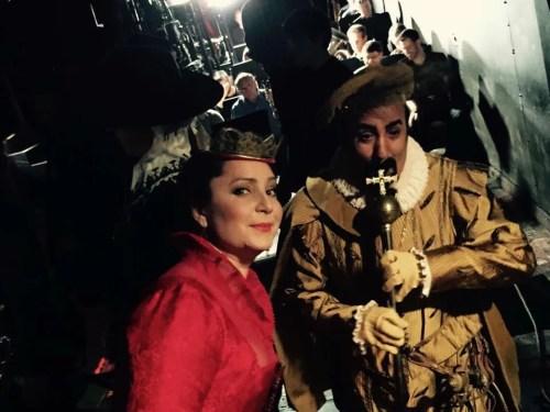 Barbara Frittoli in the wings with tenor Eduardo Valdes